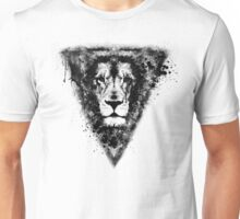 Cool Lion Head Design in Black Ink Unisex T-Shirt