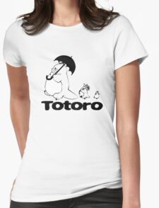 Totoro Walking Womens Fitted T-Shirt
