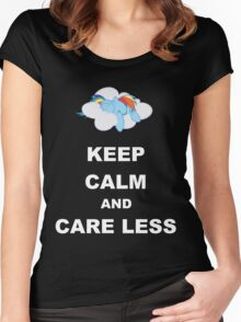 Keep Calm and Care Less Women's Fitted Scoop T-Shirt