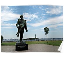 Soldier Monument with Lady Liberty in the Background Poster