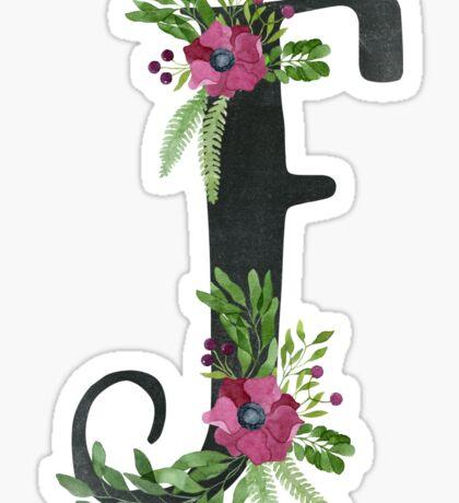 Monogram F with Floral Wreath Sticker