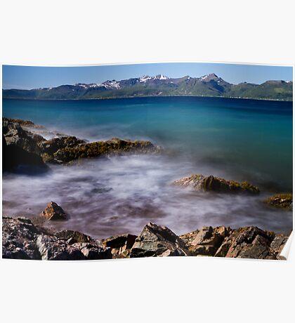 Sea spray on the rocks Poster