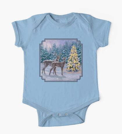 Whitetail Deer and Christmas Tree Winter One Piece - Short Sleeve