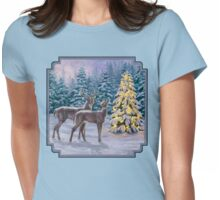 Whitetail Deer and Christmas Tree Winter Womens Fitted T-Shirt
