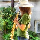 Girl Playing Saxophone by Susan Savad