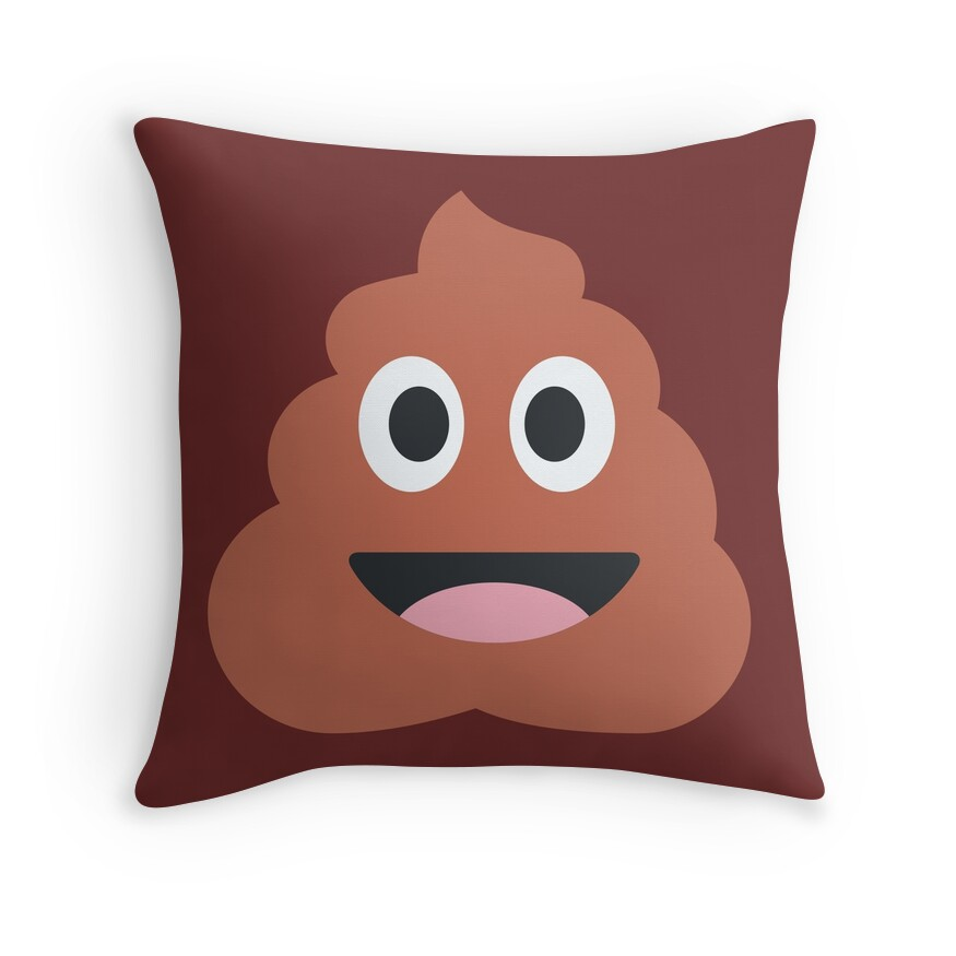 Poop Emoji Throw Pillow :