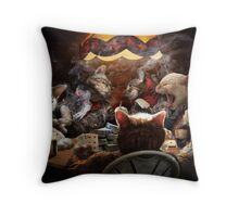 Cats play poker Throw Pillow