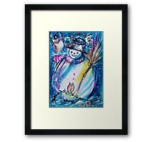 Snowman With Owl In Winter Framed Print