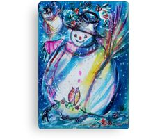 Snowman With Owl In Winter Canvas Print
