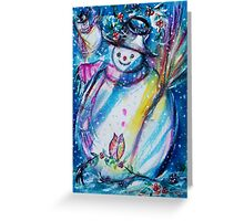 Snowman With Owl In Winter Greeting Card