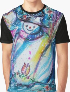 Snowman With Owl In Winter Graphic T-Shirt