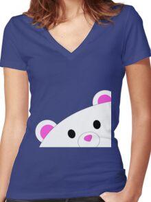 Shy teddy bear Women's Fitted V-Neck T-Shirt