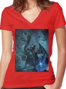 Dark knight Women's Fitted V-Neck T-Shirt