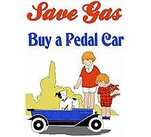 Retro save gas, buy a pedal car Photographic Print