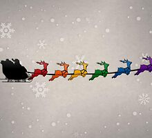 Santa Sleigh with Rainbow Reindeer by LiveLoudGraphic