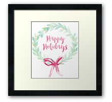 Red and Green Watercolor Holiday Wreath Framed Print