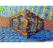 351 - THE RAINBOW WALL - DAVE EDWARDS - COLOURED PENCILS & INK - 2012 Photographic Print