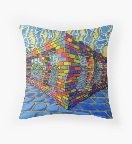 351 - THE RAINBOW WALL - DAVE EDWARDS - COLOURED PENCILS & INK - 2012 Throw Pillow