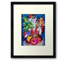 SANTA WITH CHRISTMAS TREE AND GIFTS Framed Print