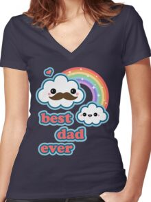 Cute Best Dad Ever Women's Fitted V-Neck T-Shirt