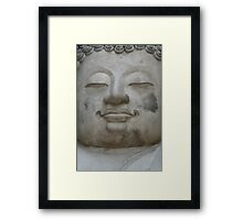 Buddha Face in Gray Framed Print