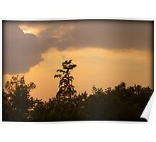 Setting Sun Behind the Clouds Poster