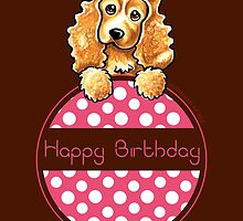 Cocker Spaniel Polka Hangtag Happy Birthday by offleashart