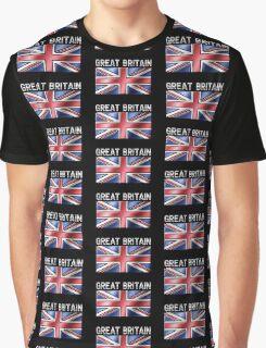 Great Britain - British Flag & Text - Metallic Graphic T-Shirt