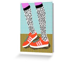 Spiffy - shoes art print memphis design style modern colorful california socal los angeles brooklyn hipster art pattern  Greeting Card