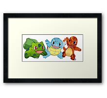 Bulbasaur, Charmander and Squirtle - Art Framed Print