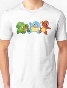 Bulbasaur, Charmander and Squirtle - Art T-Shirt
