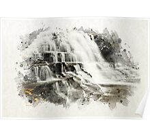 Waterfall Landscape Watercolor Poster