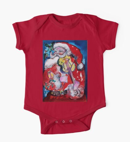 SANTA CLAUS PLAYING VIOLIN /  MUSICAL CHRISTMAS PARTY One Piece - Short Sleeve