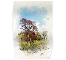 Fall Tree Watercolor Poster