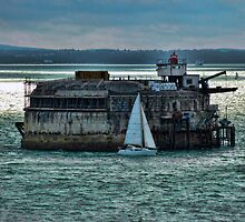 Portsmouth Defence Fort With Sail Boat by Sharon Brown