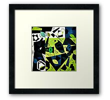 Monochrome Modern Art: Green Framed Print