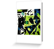 Monochrome Modern Art: Green Greeting Card