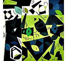 Monochrome Modern Art: Green Photographic Print