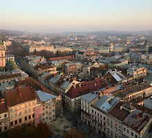 Lviv centre on sunset by Anton Gorlin