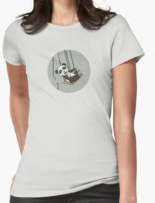 Panda breakes free Womens Fitted T-Shirt