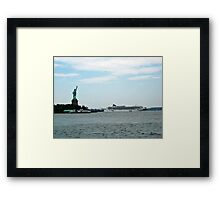 Norweigan Cruise Liner in the Hudson Passes Lady Liberty Framed Print
