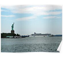 Norweigan Cruise Liner in the Hudson Passes Lady Liberty Poster