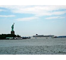 Norweigan Cruise Liner in the Hudson Passes Lady Liberty Photographic Print