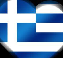 ELLADA - Greek Flag Heart & Text - Metallic Sticker