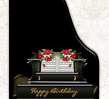 Piano Birthday Greeting Card by Moonlake