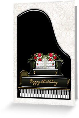 Piano Birthday Greeting Card by Moonlake