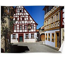 Half timbered houses in Iphofen, Franconia, Bavaria, Germany. Poster
