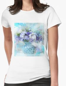 shabby chic french country blue watercolor flowers Womens Fitted T-Shirt