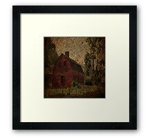 primitive western country rustic burlap farm red barn Framed Print