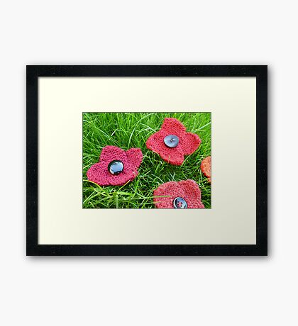 Hand Knitted Poppies Framed Print